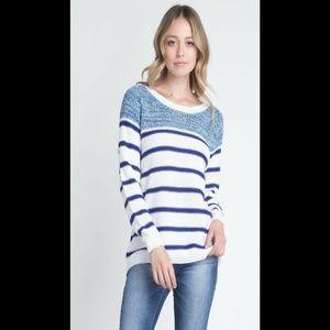 Long Sleeve Stripe Pattern Knit Sweater Casual Top